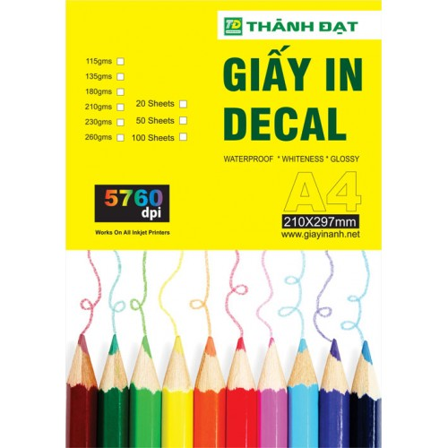 Giấy In Decal Đế Trắng A4